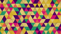 Colorful triangles hipster background 3D render loopable 4k UHD (3840x2160) - stock footage