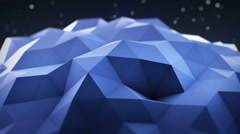 Blue polygonal shape vibrating seamles loop 3D render 4k UHD (3840x2160) Stock Footage