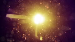 Lens flares and flying particles loop 4k UHD (3840x2160) - stock footage