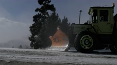 Snowplow falling snow winter mountain blizzard snowfall christmas misty storm Stock Footage