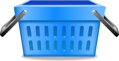 Blue shopping basket realistic image pictogram vector illustration - stock illustration