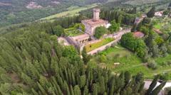 Aerial footage of Castello di Vincigliata Stock Footage
