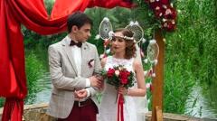 Wedding ceremony boho-chic style - stock footage