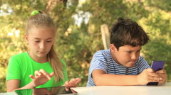 Kids with digital tablet and smart phone 3 Stock Footage