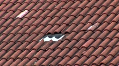 Roof tiles pan Stock Footage
