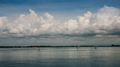 The clouds in Grado lagoon Stock Footage