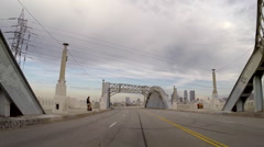 Historic Los Angeles 6th Street Bridge Driving Time Lapse Stock Footage
