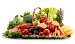 Composition with assorted raw organic vegetables. Detox diet Stock Photos