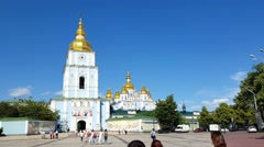 St. Michael's Golden-Domed Monastery - famous church in Kyiv, Ukraine Stock Footage