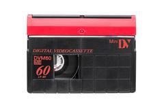 MiniDV video cassette on white background Stock Photos