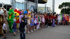 Dancing collectives before a scene, Ukraine. Stock Footage