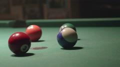 Detail shot of pool billiard balls colliding - shot13 - CC - stock footage