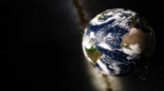 Planet Earth Rotation with Milky Way in the Background Stock Footage