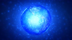 Blue Particle Magic Spinning Globe 4K Loop - stock footage