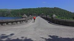 Lake Vyrnwy Dam - Entrance over Dam Stock Footage