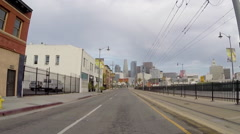 Rear View Car Mount Time Lapse on 1st Street Bridge in Los Angeles - stock footage