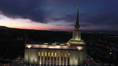 Aerial side view of LDS Temple in Oquirrh Mountain Stock Footage