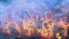 Meat grilled on wood coal outdoor. Closeup. Smoke over hot shish kebab Stock Footage