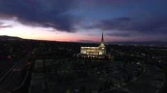 Moving forward aerial view of LDS Temple in Oquirrh Mountain - stock footage