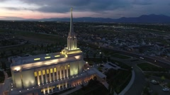 Aerial view of LDS Temple in Oquirrh Mountain rotating back to front - stock footage