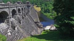 Lake Vyrnwy Dam - Side View Stock Footage