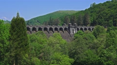 Lake Vyrnwy Dam - Front View Stock Footage