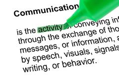 Highlighted word activity for Communication with green pen Stock Photos