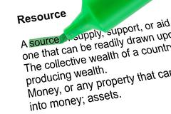 Highlighted word source for Resource with green pen over white. Stock Photos