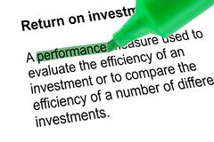 Highlighted word performance for Return on investment, green pen - stock photo