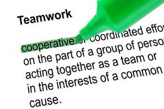 Highlighted word cooperative for Teamwork with green pen. Stock Photos