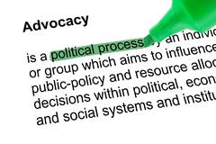Highlighted words political process with green pen - stock photo