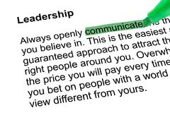 Highlighted word communicate with green pen Stock Photos