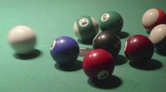 Detail shot of pool billiard balls colliding - shot09 - CC - stock footage