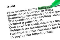 Highlighted word integrity with green pen Stock Photos