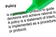 Highlighted word principle with green pen - stock photo