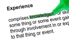 Highlighted word knowledge with green pen - stock photo