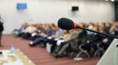 Microphone In A Conference Room Stock Footage