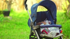 Six months baby sleeping in nature Stock Footage