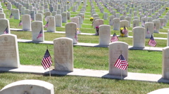 Military Headstones and Flags Stock Footage