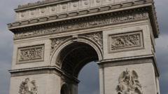 Famous  Arc de Triomphe  monument  of Paris France 4K 2160p 30fps UltraHD til Stock Footage