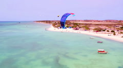 Aerial from kite surfing at Fisherman Huts on Aruba island in the Caribbean Sea - stock footage