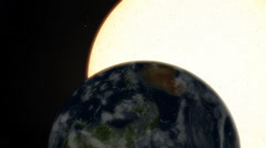 Closeup of Earth Rotation with a Gigantic Perspective of the Sun Transit Stock Footage