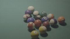 Detail shot of pool billiard balls breaking up - shot01 - FLAT - stock footage