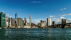 In the sunny day,the One World Trade Center and the Brooklyn Bridge Stock Footage