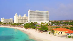 Aerial from Palm Beach on Aruba island in the Caribbean - stock footage