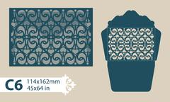 Template congratulatory envelope with carved openwork pattern - stock illustration