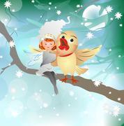 Winter friendship Stock Illustration