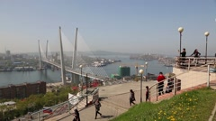 Observation deck on the hill Eagle's Nest in Vladivostok, Russia Stock Footage