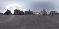 360 video Royal Palace in Dam square, amsterdam, Holland Stock Footage