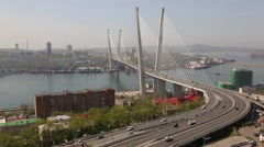 View on Vladivostok from the lookout on a hill Eagle's Nest, Russia Stock Footage